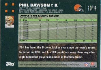 2007 Topps Cleveland Browns #9 Phil Dawson Back