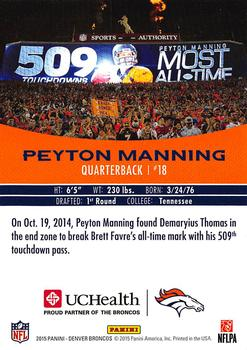 2015 Panini UCHealth Peyton Manning Career Highlights #NNO Peyton Manning Back