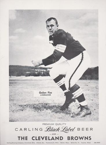 1959 Carling Black Label Beer Cleveland Browns #C Galen Fiss Front