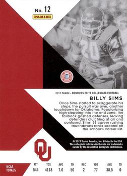2017 Panini Elite Draft Picks #12 Billy Sims Back