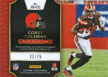 2016 Panini Select - Rookie Jumbo Signature Swatches Prizm #JS-CC Corey Coleman Back