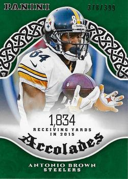 2017 Panini - Accolades Green #AC-AB Antonio Brown Front