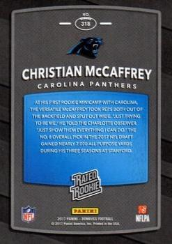 2017 Donruss - Jersey Number #318 Christian McCaffrey Back