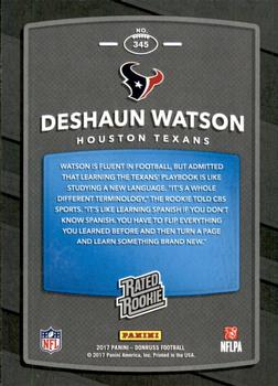 2017 Donruss - Press Proof Black #345 Deshaun Watson Back