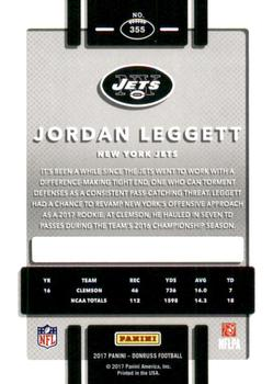 2017 Donruss - Press Proof Black #355 Jordan Leggett Back