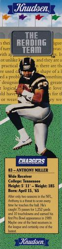 1990 Knudsen San Diego Chargers Bookmarks #NNO Anthony Miller Front