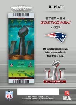2017 Panini Eternal - Super Bowl Stubs #PE-SB2 Stephen Gostkowski Back