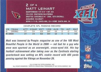 2008 Topps Arizona Cardinals Super Bowl XLII Card Show #2 Matt Leinart Back