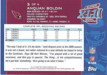 2008 Topps Arizona Cardinals Super Bowl XLII Card Show #3 Anquan Boldin Back