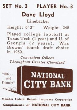 1961 National City Bank Browns - Set No. 3 #3 Dave Lloyd Back