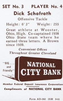 1961 National City Bank Browns - Set No. 3 #4 Dick Schafrath Back