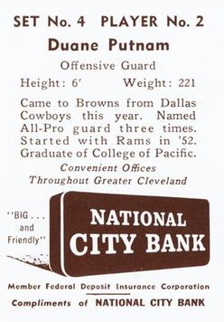 1961 National City Bank Browns - Set No. 4 #2 Duane Putnam Back