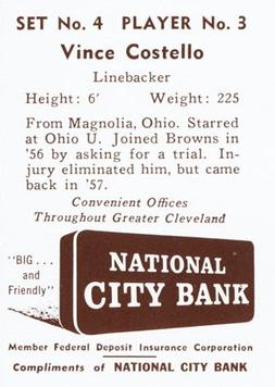1961 National City Bank Browns - Set No. 4 #3 Vince Costello Back