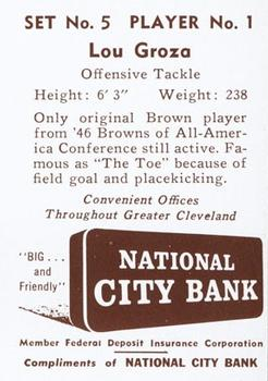 1961 National City Bank Browns - Set No. 5 #1 Lou Groza Back