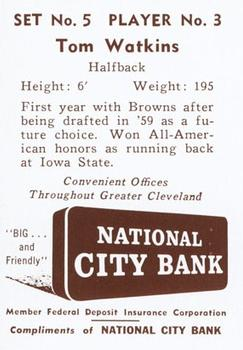 1961 National City Bank Browns - Set No. 5 #3 Tom Watkins Back