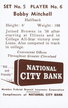 1961 National City Bank Browns - Set No. 5 #6 Bobby Mitchell Back