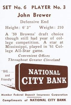 1961 National City Bank Browns - Set No. 6 #3 John Brewer Back
