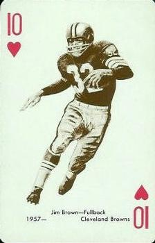 1963 Stancraft Playing Cards - Red Backs #10H Jim Brown Front