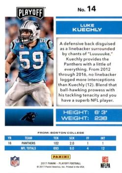 2017 Panini Playoff #14 Luke Kuechly Back