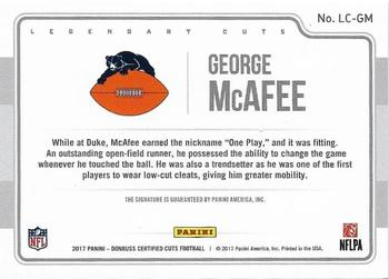 2017 Donruss Certified Cuts - Legendary Cuts #LC-GM George McAfee Back