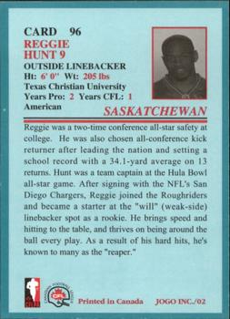 2002 JOGO #96 Reggie Hunt Back