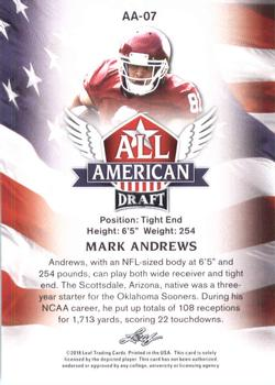 2018 Leaf Draft - All American #AA-07 Mark Andrews Back