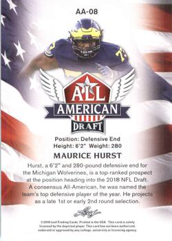 2018 Leaf Draft - All American #AA-08 Maurice Hurst Back