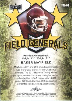 2018 Leaf Draft - Field Generals #FG-01 Baker Mayfield Back