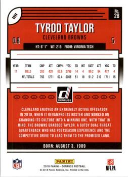 2018 Donruss #28 Tyrod Taylor Back