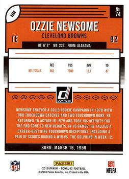 2018 Donruss #74 Ozzie Newsome Back