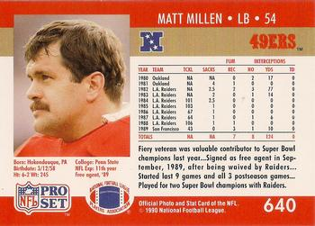 1990-91 Pro Set Super Bowl XXV Binder - Super Bowl XXV 49ers #640 Matt Millen Back