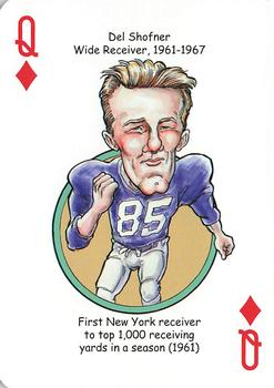 2018 Hero Decks New York Giants Football Heroes Playing Cards #Q♦ Del Shofner Front