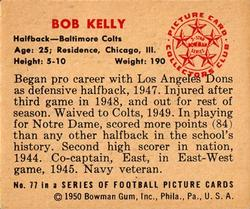 1950 Bowman #77 Bob Kelly Back