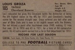 1952 Bowman Small #105 Lou Groza Back