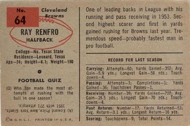 1954 Bowman #64 Ray Renfro Back