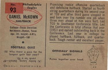 1954 Bowman #93 Daniel McKown Back