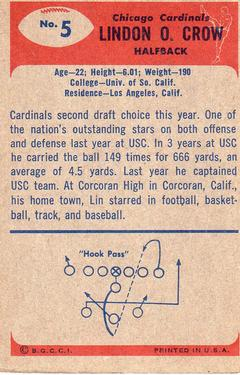 1955 Bowman #5 Lindon Crow Back