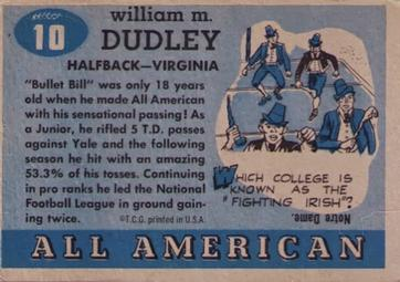 1955 Topps All-American #10 Bill Dudley Back