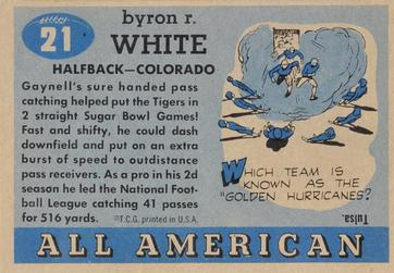 1955 Topps All-American #21 Byron White Back