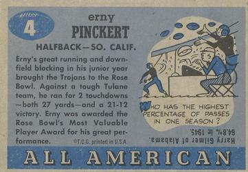1955 Topps All-American #4 Erny Pinckert Back