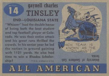 1955 Topps All-American #14 Gaynell Tinsley Back