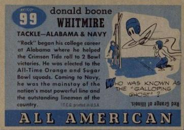 1955 Topps All-American #99 Don Whitmire Back