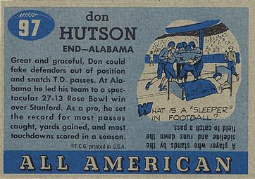1955 Topps All-American #97 Don Hutson Back