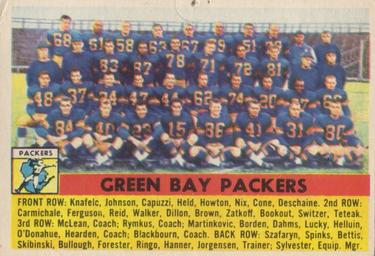 1956 Topps #7 Green Bay Packers Front