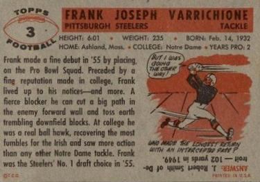 1956 Topps #3 Frank Varrichione Back