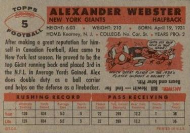 1956 Topps #5 Alex Webster Back
