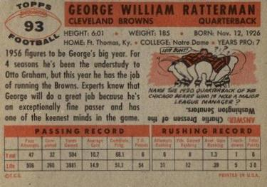 1956 Topps #93 George Ratterman Back