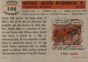 1956 Topps #105 Mike McCormack Back