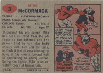 1957 Topps #3 Mike McCormack Back