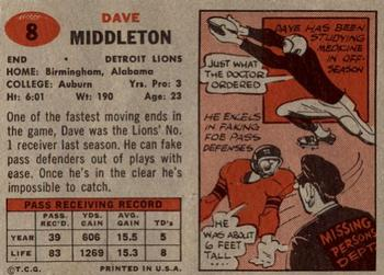 1957 Topps #8 Dave Middleton Back
